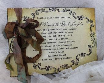 """Shabby Chic Wedding Invitation, Antique Wedding Invitation """"Brandy"""""""
