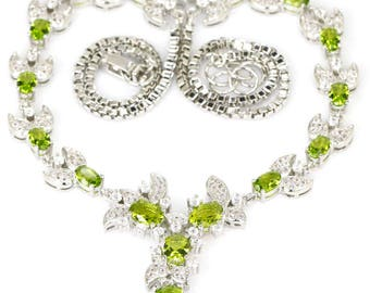 """Sterling Silver Green Peridot Gemstone & AAA White CZ Accent Necklace 18"""""""