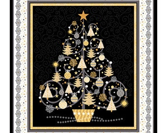 "Christmas Fabric, Gold Tree - All That Glitters Christmas Panel  - Quilting Treasures - 24434 J (Metallic accent)  - By the Panel (35-36"")"
