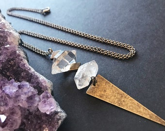 Raw Clear Quartz Pendant Necklace // Unique Long Necklace // Natural Stone Necklace // Crystal Quartz Necklace // Long Edgy Necklace