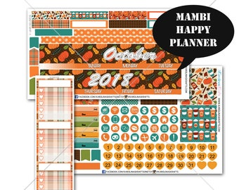 Fall Planner Stickers MONTHLY Planner Kit, Happy Planner Stickers, Mambi Stickers, Monthly Sticker Kit, October Planner #SQ00159-MHP