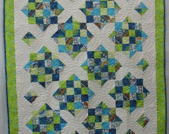 Modern blue and green quilt