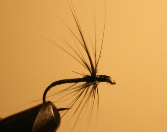 Fly Fishing - Made in Michigan Fly Fishing Flies - Black Spider - Number 10 Hook - Black thread hard body - black feather hackle - For Him
