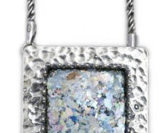Great Ancient Roman Glass Necklace, Roman Glass Pendant, 925 Sterling Silver Necklace, OOAK, Unique Jewelry