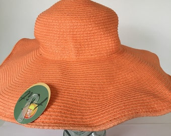 """Vintage Easy Gardener wide 5"""" brim orange natural fibers hat, pack-able, floppy style garden/beach/outdoor one size. With tag."""