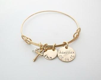 Custom Godmother Bracelet - Personalized Gold Bracelet - Personalized Jewelry - Godchild - Baptism - Baby Dedication - Communion - Name