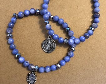 Stack of Two: St Benedict/Miraculous Medal, Special (LOOSE) Size, Two Be Still By Caroline Stretch Bracelets