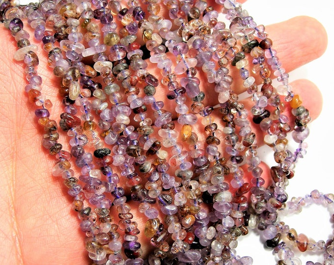 Super seven  - 4mm pebble chip stone - 35 inch strand - 320 beads - A Quality - PSC412
