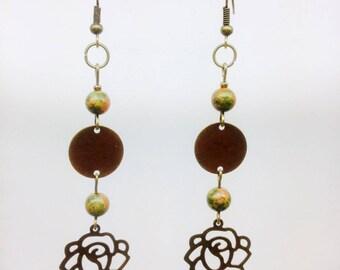 Pendant and earrings with spacer flower + gem stones - fancy earrings