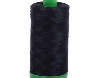 Aurifil  Thread - Black 2692 - 1094 yards, 1000 Meter 40wt or 50wt 1300m - Cotton