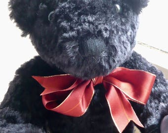 Handmade, UNIQUE  Artist Teddy Bear, Black mohair with music box