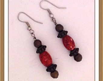 Handmade MWL red and brown dangle earrings. 0138