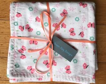 Pretty Pink Butterfly Girls Blanket