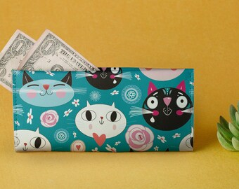 Leather Wallet Clutch Printed Cats Blue Wallet Women Wallet Big Wallet Travel Gift Leather Pouch Cute Wallet Gift For Her Harajuku CL7415