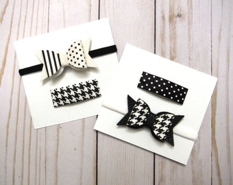Faux Leather Bow Clip Set  | Hair Bow | Snap Clip