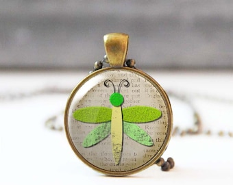 Lime green charm necklace, Dragonfly necklace, Birthday gift for animal lovers, Cabochon necklace for women, Unique jewelry, 5021-6