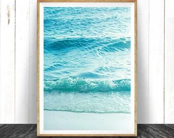 Beach Photography, Printable Wall Art, Modern Coastal, Large Poster, Blue and Aqua Ocean Waves, Beach Photo, Beach Decor, Instant Download