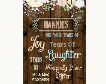 Rustic Floral Wood Hankies And Tissues Personalised Wedding Sign