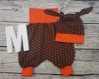 Set baby pants knot cap Baby wax pants babyset Newborn gift Pumphose harem pants Star star Brown orange young girl