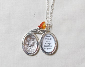 Anne of Green Gables Quote Necklace - Jewellery Jewelry Locket For Women - Gift True Friends Are Always Together In Spirit