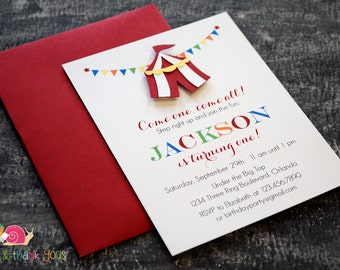 Circus Tent Invitations · A2 FLAT · Under the Big Top   First Birthday Party   Carnival Baby Shower Invitation   Carnival Party Invites