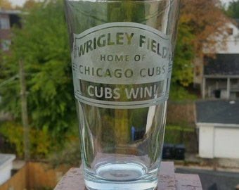 Handmade, custom etched, Chicago Cubs Wrigley Field whiskey or pint glass