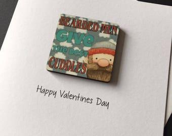Bearded Man Valentines Day Fridge Magnet Card, Lumberjack, Cuddles, Love