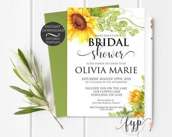 Summer Bridal Shower Invitation Template | Editable Instant Download