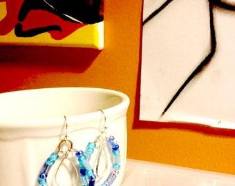 Earrings - Dangle - Aqua Blue Hoops and Silver Teardrops