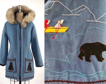 Vintage 1960s Hooded Parka // 60s Embroidered Wool Parka // James Bay Fur Trim Hooded Coat // Warm Winter Coat // Medium Made in Canada