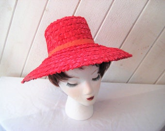 Rafia straw red wide brim hat, resort summer hat, beach hat, formal church hat, mid century, 21 inch, small head hat