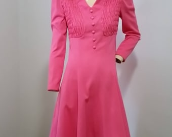 Beautiful Hot Pink Vintage 1970s Ruched dress