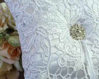 Wedding Ring Pillow, Lace and Satin Fabric with Diamante Button, Ring Bearer Pillow