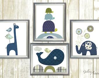 Nursery decor, Nursery wall art, baby nursery art turtle giraffe birds elephant whale Set of four prints by GalerieAnais