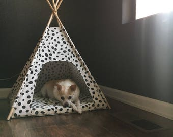 Dalmatian Dot Indoor/Outdoor Pet Teepee - choose your size - made to order for your cat or dog