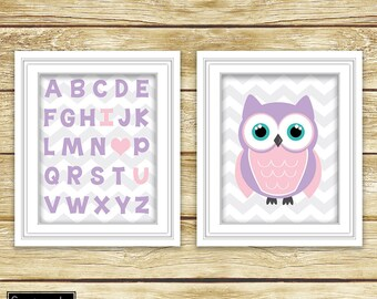 I Love Heart You Alphabet Pink Purple Owl Wall Art Nursery Girl's Room Decor ABC's Printable Set of 2 11x14 Digital JPG Instant Download- 54