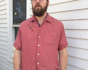 Vintage Red Mens Shirt Loop Collar Button Short Sleeve Penney L 50s 60s