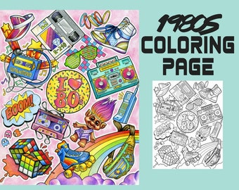 Coloring Page - 1980s Coloring Book - Printable Coloring Page- I love the 80s Page