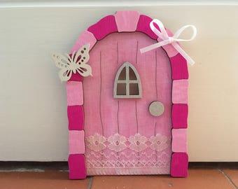 Elf Door, Tooth Fairy Door, Pink Door, Tinkerbell, Pink Fairy Door, Fairy Door, Make Believe gift , wall fairy door, magical pink door