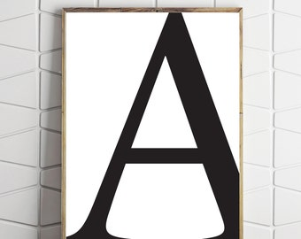 capital letter a decor, a letter print, a wall decor, a wall print, a printable art, typography decor, modern a letter
