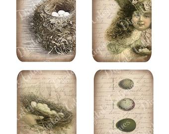Téléchargement numérique imprimable Vintage nid et oeufs Tags Pâques