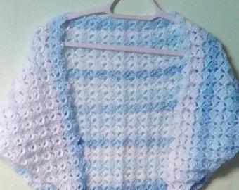 Crocheted Shawlette, Crocheted Shawl Wrap, Triangle Shawl Wrap, Blue and White Wrap, Blue and White Shawl, Lacy Shawl Wrap, Gift for Mom Mum