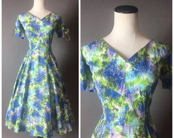 Vintage 50s dress / 1950s dress / fit and flare dress / cotton dress / party dress / watercolor abstract / party dress / day dress / 8267