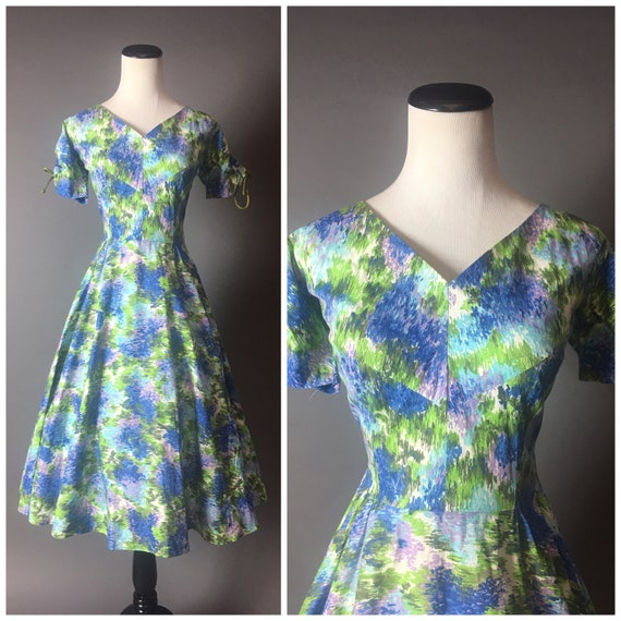 abstract Vintage 1950s day dress dress dress watercolor dress fit dress cotton 50s dress party 8267 party and dress flare HrHRqOa