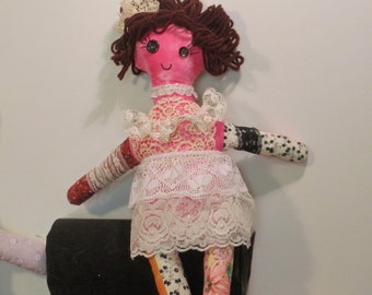 Lacy, a scrap stuffed art doll