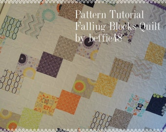 Falling Blocks Quilt Pattern Tutorial, Easy to Make, Uses Charm Packs
