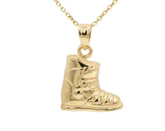 10k Yellow Gold Snow Boot Necklace