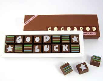 GOOD LUCK Gift - Message Chocolates - Milk Chocolate - Dark Chocolate - Good Luck Message For Exams - Best of Luck - Wishing You Luck