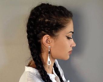 Silver charm earrings, dangle earrings, uno de 50 style, women earrings, drop earrings, leather earrings, antique silver earrings