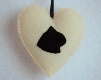 Cat Ornament Felt Animal Ornament Felt Ornament Silhouette Black Cat Antique White Heart Handmade Christmas Ornament Pet Ornament Cat Decor